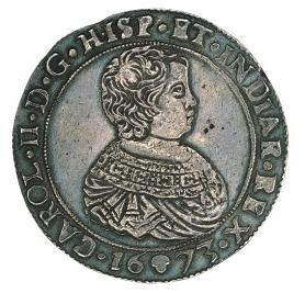 Charles II double ducaton (double thickness) of Brabant struck in Brussels in 1673.  Sold in Stack's auction Dec 4, 2001 lot number 1019.